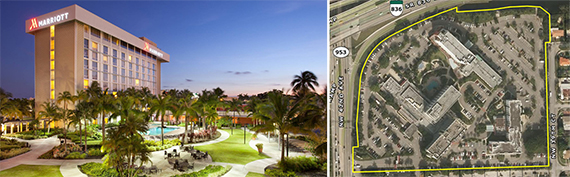 Marriott Miami Airport and a map of the Marriott campus