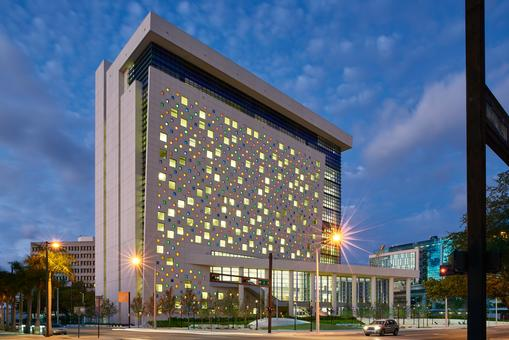 Miami-Dade County Children's Courthouse designed by HOK in association with Perez & Perez Architects Planners, Inc.
