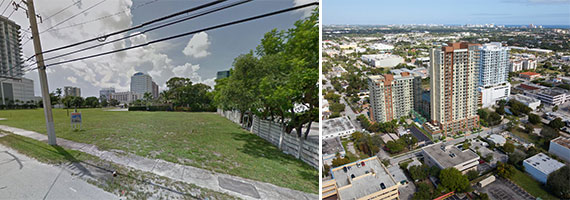 120 Northeast Fourth Street and a rendering from Ellis Diverisified's website of a possible condo project on the land.