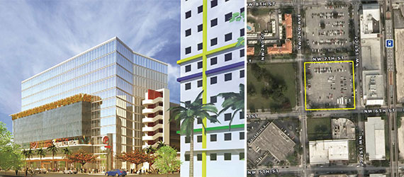 A rendering of 3 Miami Central and the lot at 160 Northwest Seventh Street