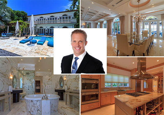 The waterfront home at 5310 North Bay Road and listing agent Darin Tansey of Douglas Elliman