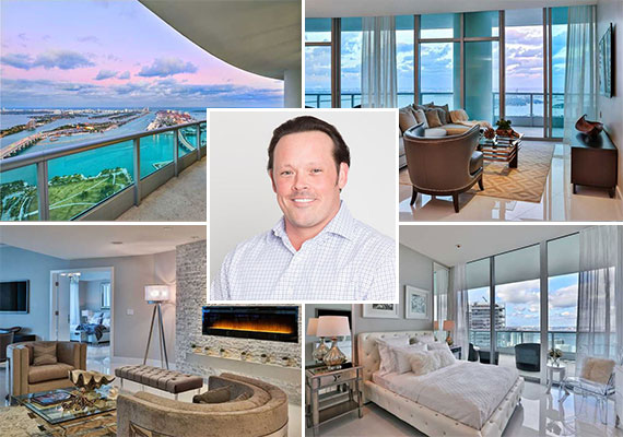 The condo at 900 Biscayne and listing agent Michael Light of Miami Luxury Homes