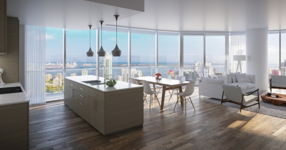 Brickell Heights living room and kitchen space