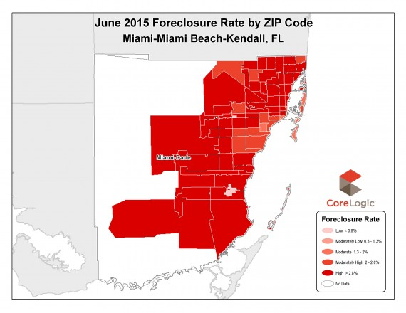(Click to enlarge) A map of foreclosures by neighborhood in Miami-Dade County for June