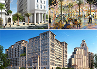 Renderings of Paseo de la Riviera, a curbless Giralda Avenue and the Mediterranean Village at Ponce Circle