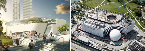 A rendering of the science museum and construction progress  as of July