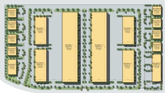 A site plan for the Turnpike 1 Business Park under development in Homestead