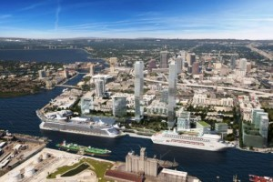 Rendering of two proposed 75-story towers in Tampa.