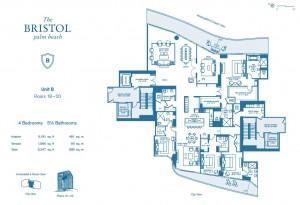 (Click to enlarge) A floor plan for unit 20B at the Bristol