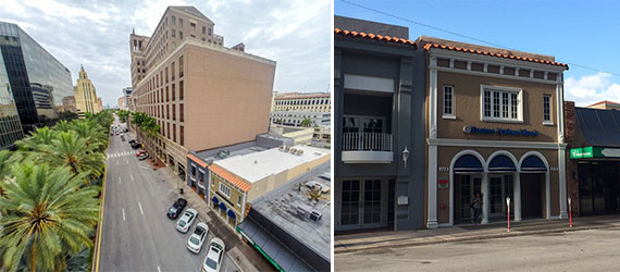 An aerial and street view of the building at 270 Alhambra Circle