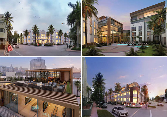 Renderings of the Collins Park Hotel redevelopment project in Miami Beach