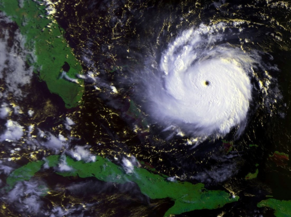 Hurricane Andrew at its strongest point in August 1992 (Credit: NOAA)