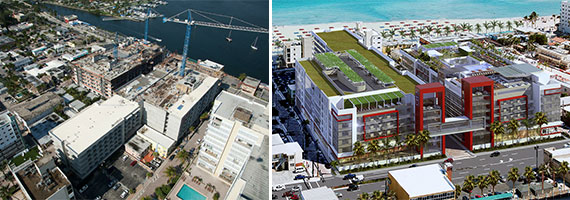 An aerial view of the Melia Costa construction site in May and a rendering of the finished product