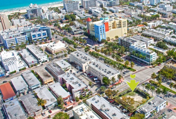 The development site at the corner of 5th Street and Meridian Avenue in South Beach