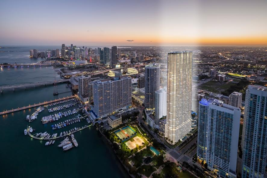Aerial rendering of Aria on the Bay in Edgewater