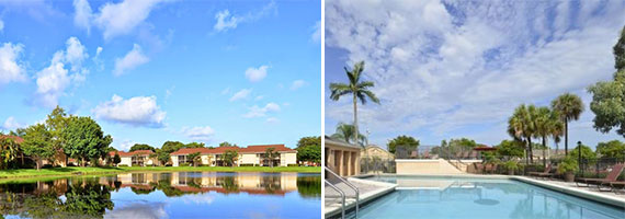 The Southern Pointe community in Plantation (left) and the Water's Edge at Welleby complex in Sunrise (right)