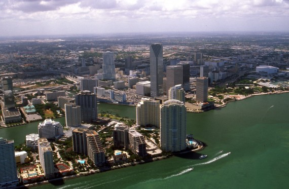 An aerial view of Miami's Brickell neighborhood (Credit: creative commons user Towpilot)