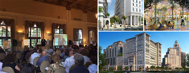 Ron Shuffield speaking at the Biltmore Hotel on Wednesday, and renderings of projects in Coral Gables