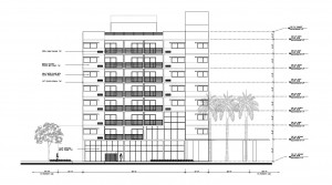Architectural drawing of the Tryp hotel in Fort Lauderdale