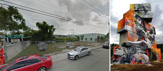 The lot where Goldman Properties will build its Wynwood Walls Garden space, and an example of Picho & Avo's mural work