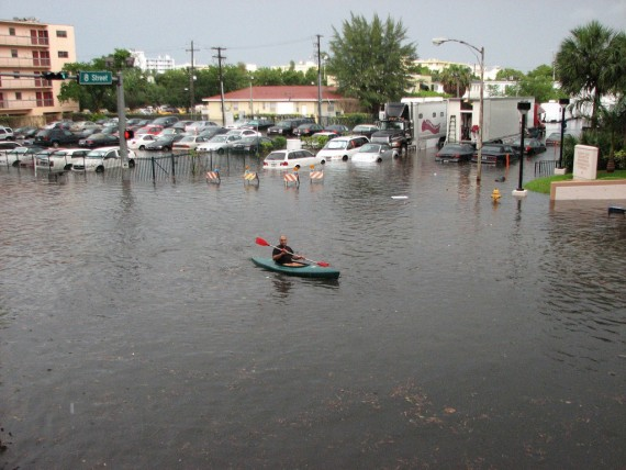 A 2009 photo of a Kayaker paddling through South Beach. (Credit: maxstrz)