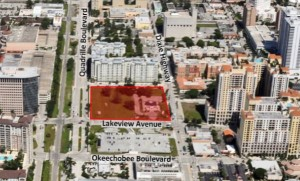 An aerial view of the site at 419 Lake Avenue