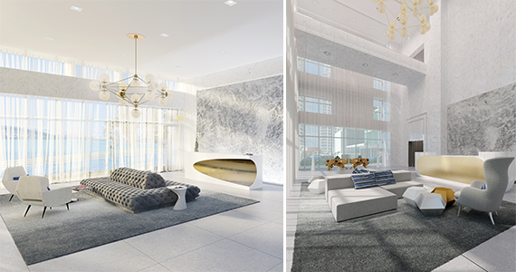 Renderings of Bentley Bay's lobbies