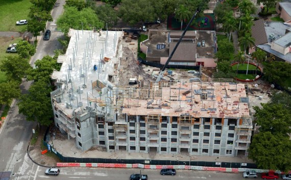 An aerial view of the Courtside Apartments construction site in Overtown