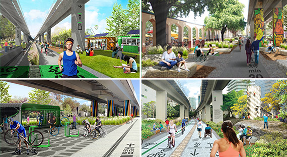 Renderings of the Underline linear park and trail in Miami