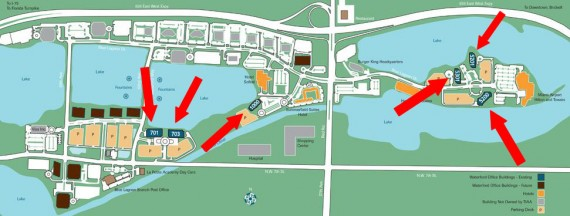 A map of the Waterford at Blue Lagoon office park near the Miami International Airport. Red arrows indicate the buildings included in the deal