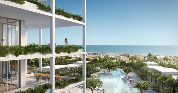 Fasano Hotel + Residences at Shore Club - southeast balcony rendering by Visualhouse