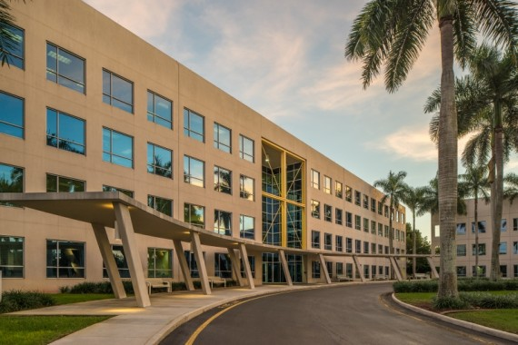 One of the two office buildings in the Commercial Place plaza in Fort Lauderdale