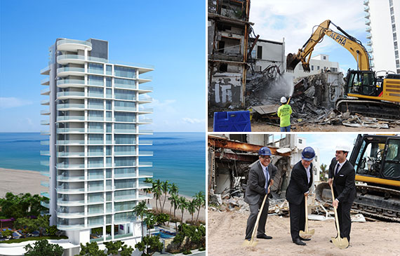 Clockwise from left: a rendering of the L'Atelier Residences, a excavator tears down pieces of the Golden Sands Hotel, and Meir Srebrenik, Greg Martin and Daniel de la Vega shovel dirt at the groundbreaking