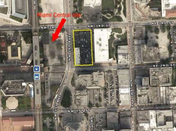 The acre of land purchased by investors in downtown Miami and the MiamiCentral development site