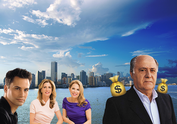 Downtown Miami skyline (inset from left: Kevin Tomlinson, Jill Hertzberg, Jill Eber and billionaire Amancio Ortega)