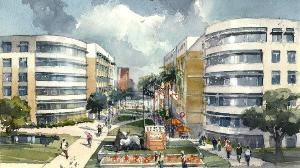 "Rendering of planned USF student housing ""village."""