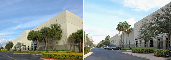 The warehouses at 2935 and 2945 West Corporate Lakes Boulevard in Weston