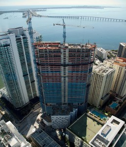 A photo of the 46-story BrickellHouse tower when it was under construction