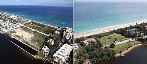 The 11.3-acre assemblage, left, and the 3.35-acre plot, right. Both are located in Hillsboro Beach