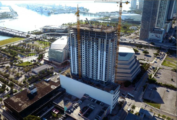 The 38-story Melody construction site in downtown Miami