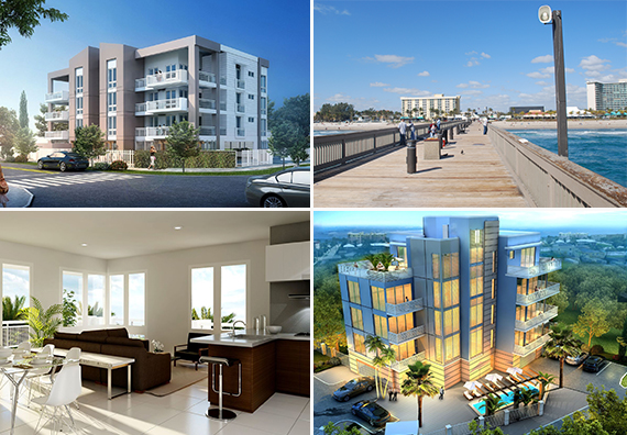 Renderings of the Fordham and Elysian and a view of Deerfield Beach