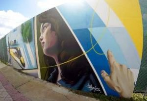 Mural at the Brightline station site in West Palm Beach