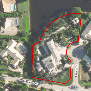 An aerial view of the home's 1.2-acre lot