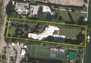 An aerial view of the 0.8-acre lot at 4333 Pine Tree Drive