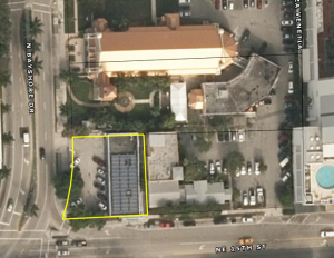 An aerial view of the 11,700-square-foot-lot at 511 Northeast 15th Street