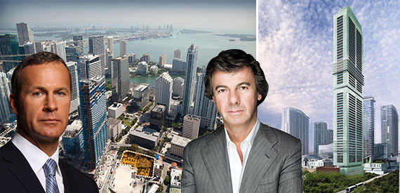 From left: Russian developer Vlad Doronin, an aerial view of the 830 Southeast First Avenue Site, CMC Group founder Ugo Colombo and a rendering of Brickell Flatiron