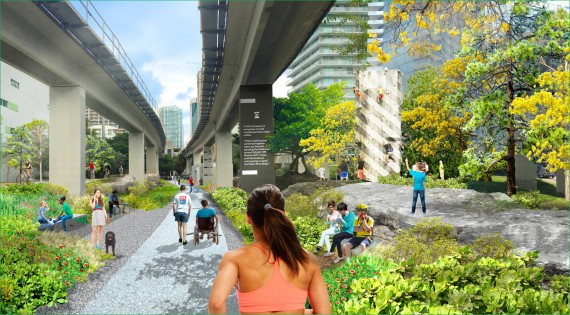 A proposed rendering of the Underline's Brickell portion