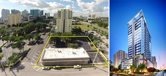 Flagler Village site and a rendering of the project