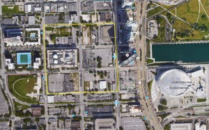 (Click to enlarge) An aerial map of Miami Worldcenter's outlined street borders