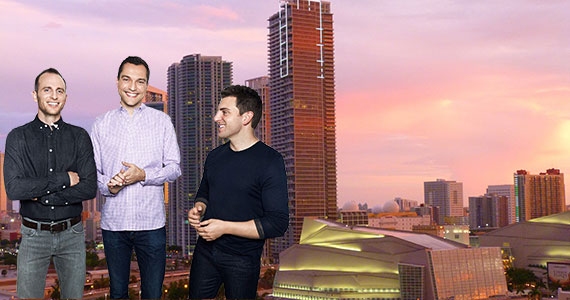 The downtown Miami skyline and Airbnb founders Joe Gebbia, Nathan Blecharczyk and Brian Chesky